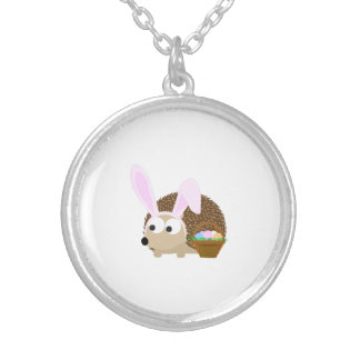 Cute Easter Hedgehog Round Pendant Necklace