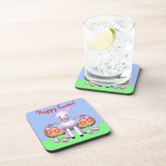 Cute Easter Lamb and Baskets Drink Coaster