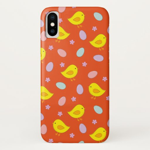 Cute Easter pattern Chickens Eggs Custom color iPhone X Case