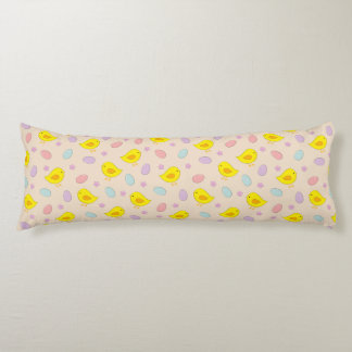 Cute Easter pattern with chickens, eggs, flowers Body Pillow
