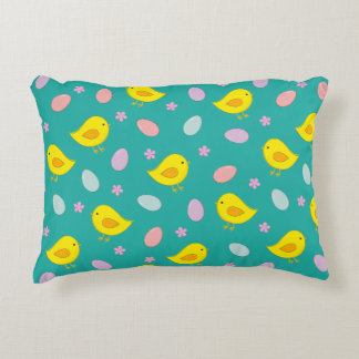 Cute Easter pattern with chickens, eggs, flowers Decorative Pillow