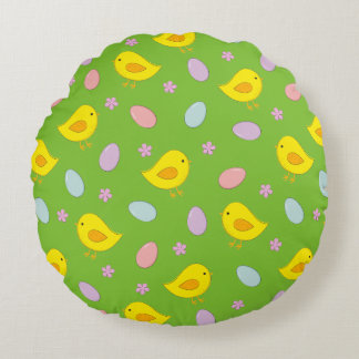 Cute Easter pattern with chickens, eggs, flowers Round Pillow