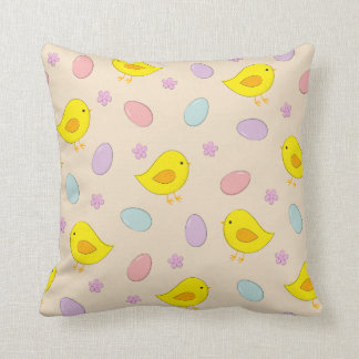 Cute Easter pattern with chickens, eggs, flowers Throw Pillow