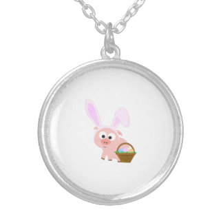 Cute Easter Pig Silver Plated Necklace