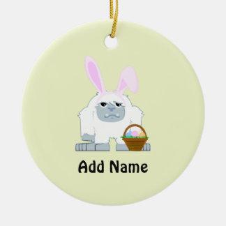 Cute Easter Yeti Ceramic Ornament