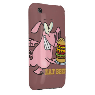 cute eat beef burger piggy pig cartoon iPhone 3 Case-Mate case