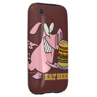 cute eat beef burger piggy pig cartoon iPhone 3 tough case