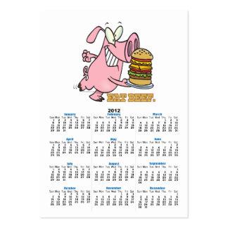 cute eat beef burger piggy pig cartoon large business card