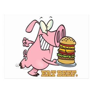 cute eat beef burger piggy pig cartoon post card