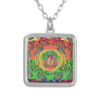 Cute Eat Love Play Hakuna Matata Colors.png Square Pendant Necklace