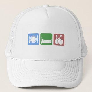 Cute eat sleep bowling trucker hat