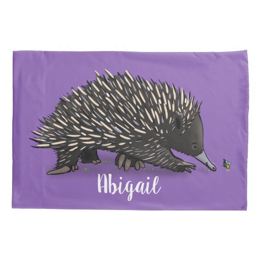 Cute echidna with bee cartoon illustration pillow case