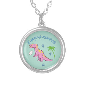 Cute Edmontosaurus Silver Plated Necklace
