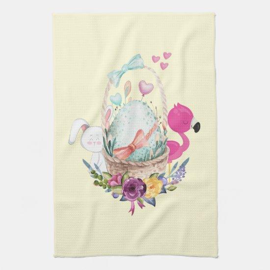 Cute Egg Pink Flamingo & Bunny Watercolor Kitchen Towel