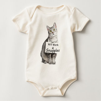 Cute Egyptian Mau Cat Advertising for Snuggles Baby Bodysuit