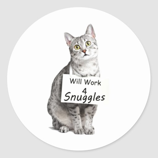 Cute Egyptian Mau Cat Advertising for Snuggles Classic Round Sticker