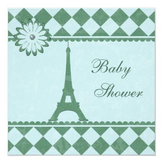 Cute Eiffel Tower Argyle Blue Green Baby Shower Card