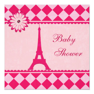 Cute Eiffel Tower Argyle Pink Baby Shower Card
