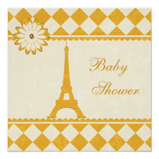 Cute Eiffel Tower Argyle Yellow Baby Shower 5.25x5.25 Square Paper Invitation Card