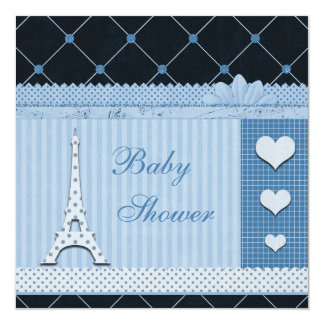 Cute Eiffel Tower Blue Polka Dots Baby Shower 5.25x5.25 Square Paper Invitation Card