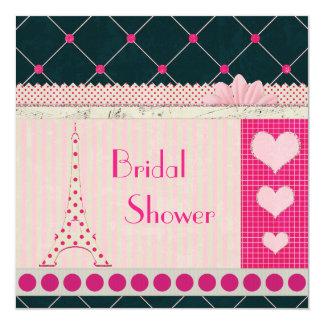 Cute Eiffel Tower Pink Polka Dots Bridal Shower 5.25x5.25 Square Paper Invitation Card