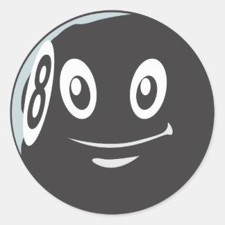 Cute Eight 8 Ball Billiard Cartoon Stickers