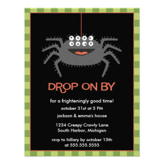 Cute Eight Eyed Spider Halloween Party Invitations