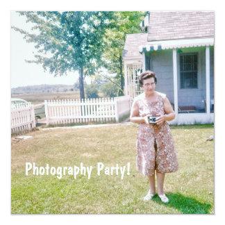 Cute Elderly Lady Holding an Old Film Camera Card