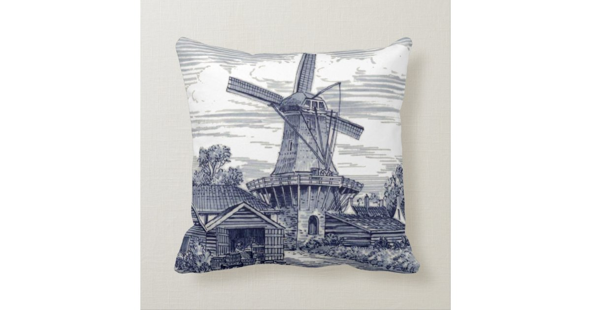 Cute Elegant Antique Delft Blue Dutch Windmill Throw Pillow Zazzle