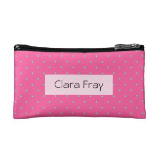 cute elegant baby pink mint polka dots pattern cosmetic bag