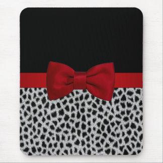 Cute elegant black and white leopard skin mouse pad