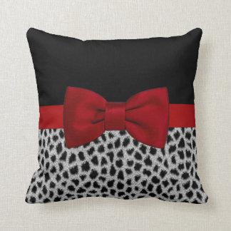 Cute elegant black and white leopard skin throw pillow