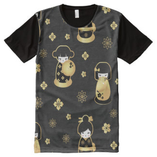 Cute elegant black gold Japanese dolls and flowers All-Over-Print T-Shirt
