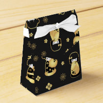 Cute elegant black gold Japanese dolls and flowers Favor Box