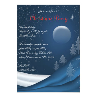 CUTE Elegant Blue night sky Christmas Invite