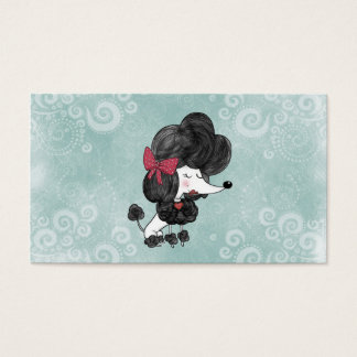 Cute elegant French poodle girly cartoon Business Card