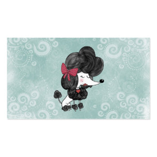 Cute elegant French poodle girly cartoon Business Card Templates