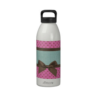 Cute elegant girly pink blue brow polka dots bow reusable water bottle