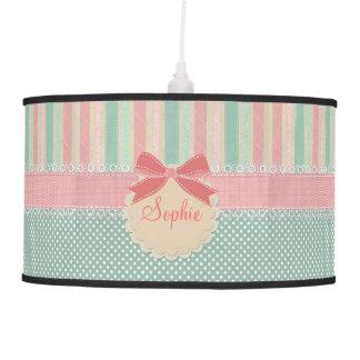 Cute elegant girly trendy vintage stripes ceiling lamp