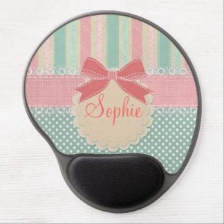 Cute elegant girly trendy vintage stripes gel mouse pads