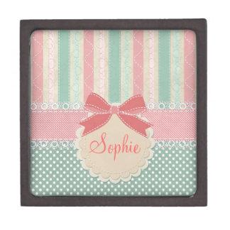 Cute elegant girly trendy vintage stripes jewelry box