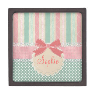 Cute elegant girly trendy vintage stripes premium keepsake box