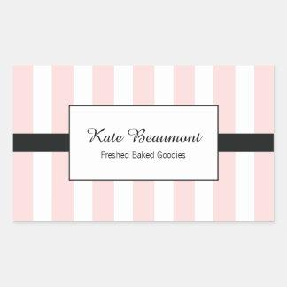 Cute Elegant Pink and White Stripes Rectangular Sticker