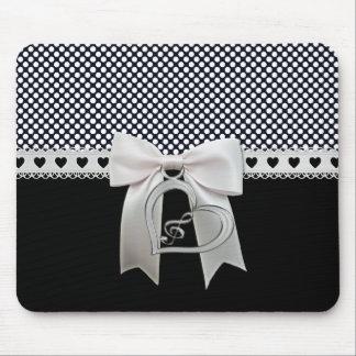 Cute elegant polka dots white ribbon and bow heart mouse pad