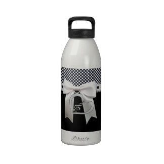 Cute elegant polka dots white ribbon and bow heart reusable water bottle