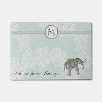 Cute elegant stylish lace elephant monogram post-it® notes