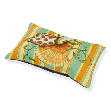 Beach Themed Cute Elegant Stylish Seashells Stripes Pattern Pet Bed