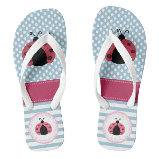 Cute elegant trendy girly ladybugs stripes/dots flip flops