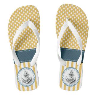 Cute elegant trendy nautical anchor stripes/dots flip flops