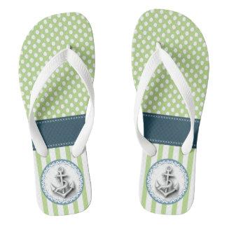 Cute elegant trendy nautical annchor stripes/dots flip flops